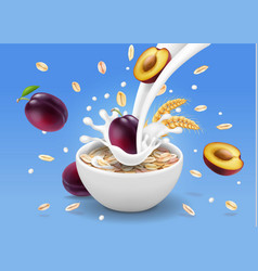 purple plum in yogurt bowl and oatmeal vector image