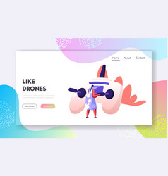 Quadcopter technologies website landing page rear vector