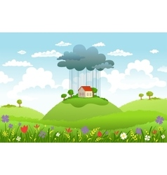 Rain over one house vector