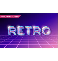 Retro glass neon lettering vector