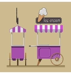 Retro ice cream cart vector