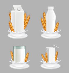 rice milk package mockup set realistic vector image