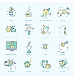 set flat line icons for finance vector image