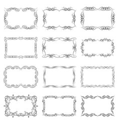 set of twelve decorative vintage horizontal frames vector image