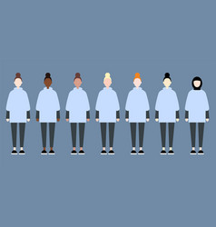 set sporty diverse race women sisterhood cute vector image