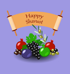 Shavuot fruits and sefer torah lilac background vector