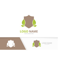 Shield and leaves logotype business protection vector