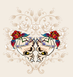 skulls heart vector image