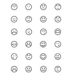 Smiley line icons 4 vector
