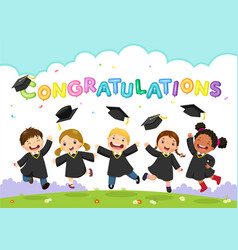 students celebrating graduation vector image