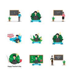 Teacher education flat design line icon vector