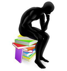 Thinker thinking sitting on books vector