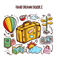 travel doodles art set vector image