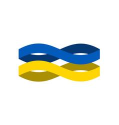 Ukraine flag ribbon isolated ukrainian symbol vector