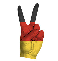 Victoria finger gesture with germany flag vector
