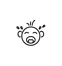 Web line icon crying baby black on white vector