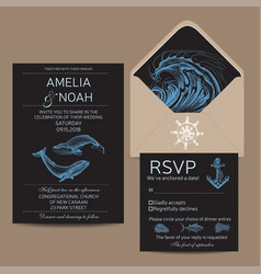 wedding card with whale colorful vector image