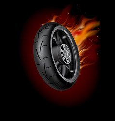 Wheel in flame poster mock up template realisti vector