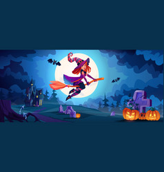 Witch flying on broomstick halloween landscape vector