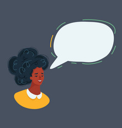 woman face and speech bubble on dark vector image
