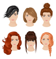 Women hairstyle ideas 6 icons collection vector