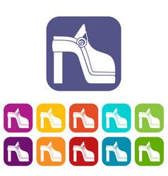 Women shoe icons set vector