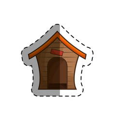 Wooden mascot house icon vector