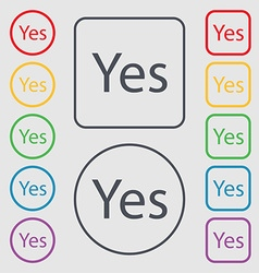 Yes sign icon Positive check symbol Symbols on the vector