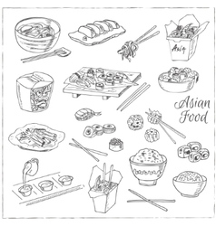 Asian Food Decorative chinese food icons set vector image vector image