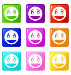 confused emoticons 9 set vector image vector image
