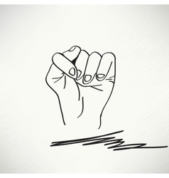 Fig fico hand sign detailed black and white lines vector image vector image