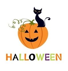 Halloween card with cuteblack cat and pumpkin vector image