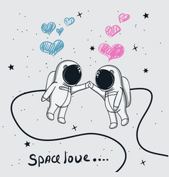 Love of astronauts boy and girl vector