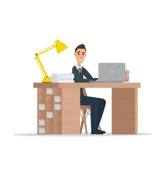Office worker man behind a desktop isolated on vector image