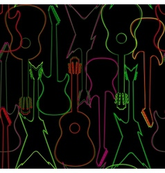 Seamless pattern with guitar silhouettes vector image