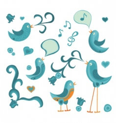 tweeting birds vector image vector image