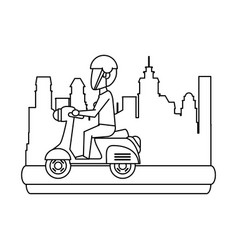 vintage scooter motorcycle in the city vector image