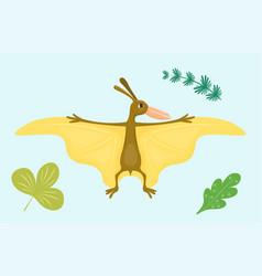 cartoon dinosaur pterodactyl vector image