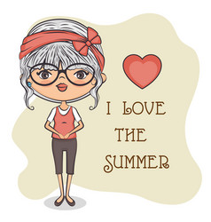 cute girl loves summer vector image