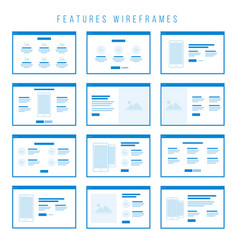 features wireframe components for prototypes vector image vector image