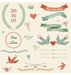 wedding set with birds hearts arrows ribbons vector image vector image
