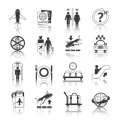 Airport icons black and white set vector image