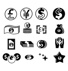 Currency icons set vector image vector image