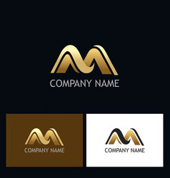gold letter m company logo vector image