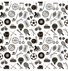 Sport signs and symbols black background pattern vector