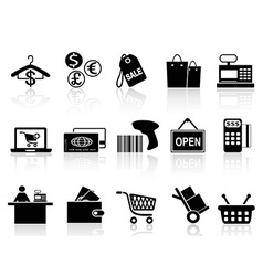 black retail and shopping icons set vector image vector image