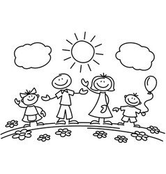 hand drawn stick figure happy family vector image