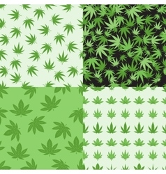 Marijuana background set seamless patterns vector image vector image