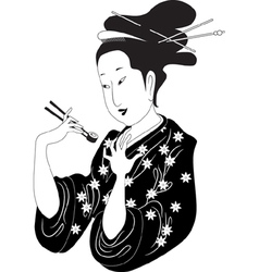 Sushi woman vector image vector image
