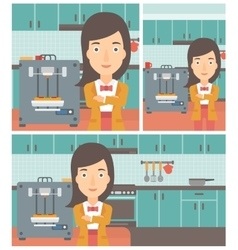 Woman with three D printer vector image vector image